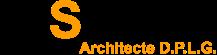 Logo de l'agence d'architecture Hubert Saladin Architectes H. DPLG. Logo noir et orange sur fond blanc.
